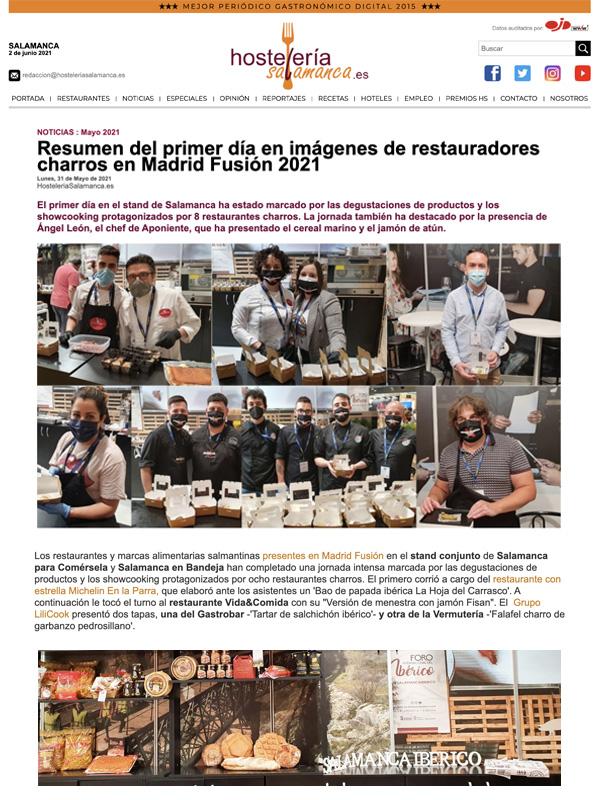 Resumen del primer día en imágenes de restauradores charros en Madrid Fusión 2021